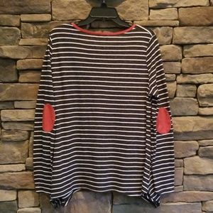 Umgee Tops - Umgee Stripe Top with Elbow Patches. NWOT
